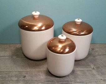 Copper & Stoneware Canisters - Set of Three