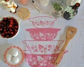 SALE Tea Towel: Vintage Pyrex Pink Gooseberry, Nesting Cinderella Bowls-Screen Printed Cotton -- Soft, Lint Free, Awesome.