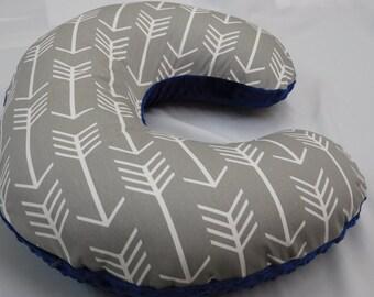 Nursing pillow cover,  Grey/White Arrows,  Midnight Blue (light navy) Minky backside