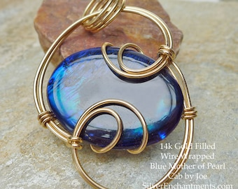 14K Wire-Wrapped Blue Mother of Pearl Shell Pendant, 14k GF Mother of Pearl Luxe-Wrapped Jewelry