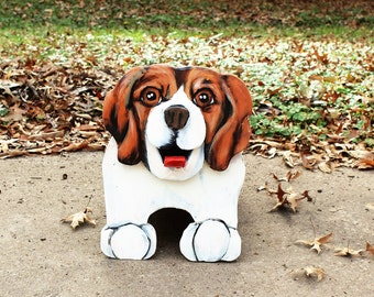 Beagle Two Bowl Dog Feeder, Dog Lover Gift, Dog Food Dish, Animal lover gift, elevated dog dish