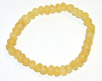 Adult Baltic amber bracelet lemon-honey color rounded unpolished beads 98pb