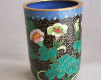 Cobalt Blue Chinese Cloisonne Vase Morning Glory Motif