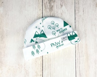 Green PNW Baby Hat - Organic Baby Beanie with Pacific Northwest Print - Forest Green - Washington, Oregon, British Columbia - Ready to Ship