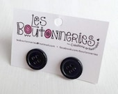 Earrings to buttons - black