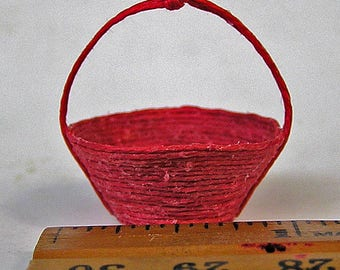 Handmade Dark Rose Hemp Dollhouse Miniature Basket 1:12 scale