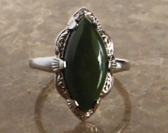 Clark & Coombs Sterling Green Jade Marquise Ring     Nephrite Jade       Size 8