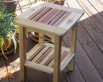 Cedar and bamboo indoor/outdoor side table