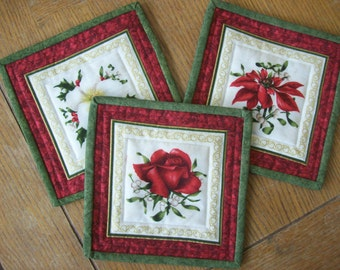 Quilted Cotton Coasters, Set of 3 Coasters, Mug Rugs, Flower Candle Matts