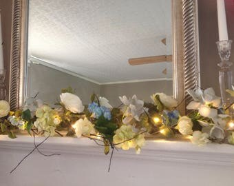 summer mantle garland spring garland with lights shabby chic garland farmhouse decor