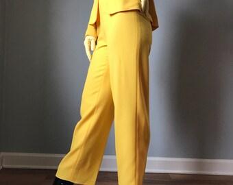 1980s High Waist Trousers Vintage Guy Laroche School Bus Yellow  0