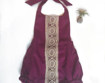 Raspberry Linen Boho Romper Made to Order in Sizes 3 months to 3 years
