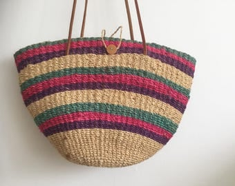 Vintage Woven Raffia Market Bag with Leather Strap Handles / Vintage Market Bag / Beach Bag / Vintage Grocery Bag Green Pink Purple