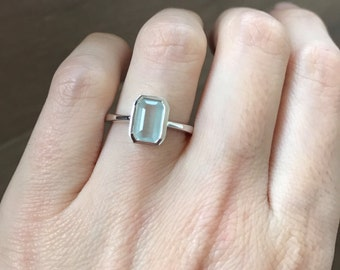 Rectangle Aquamarine Ring- Stack Aquamarine Ring- March Birthstone Ring- Genuine Aquamarine Ring- Blue Gemstone Ring- Sterling Silver Ring