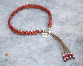 Beaded Bracelet - Beaded Tassel Bracelet - Czech Glass - Yoga Bracelet - Water and Workout-Friendly!