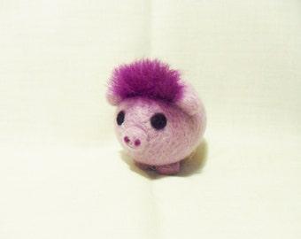 Needle Felted Pig -  miniature purple pig figure - 100% merino wool - wool felt pig - purple pig - pig figure