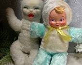 Super Rare J Swedlin Gund Dreamie Cat -CLOTH FACE!! 1940'S WWII & Rabbit Baby