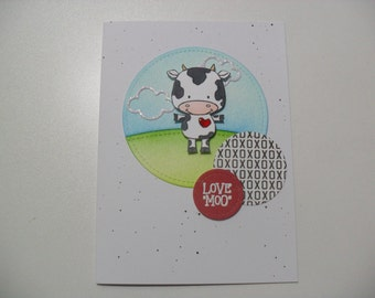 Anniversary/Love Card - Cow Pun Card - Love Moo - BLANK Inside