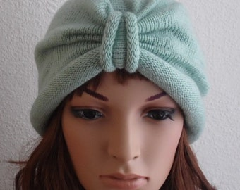 Knitted turban for women, handmade turban hat, winter turban, fashion turban, women's hat, knitted from lambswool and acrylic blend yarn