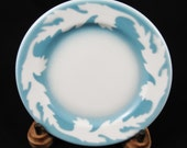 "Syracuse Restaurant Oakleigh Pattern Plate, White Oak Leaf on Blue, Bread, Rolls, Side Plate 5 1/2"""