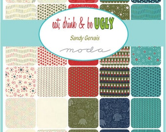 New - Eat, Drink & Be Ugly Charm Pack by Sandy Gervais for Moda
