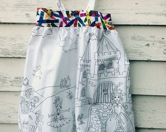 Size 3T Color Your Own Dress, Girls Dress, Toddler Dress, Coloring Fabric, Coloring Gift, Princess Dress, Ballerina Dress