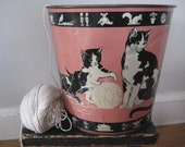 vintage waste can - trashcan - metal can - waste basket - kittens - cat - litho - nursery decor - bathroom decor - home decor - cat lover