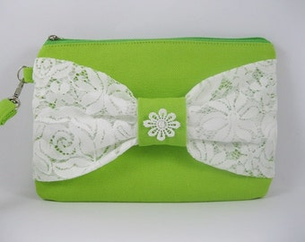 SUPER SALE - Lime Green with White Lace Bow Clutch - Bridal Clutches, Bridesmaid Wristlet, Wedding Gift - Made To Order