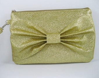 SUPER SALE - Gold Glitter Bow Clutch - Bridal Clutch, Bridesmaid Clutch, Wedding Clutch, Wedding GIft - Made To Order