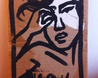 Dessin original, original artwork, portrait, sexy girl fille nue sur carton/cardboard