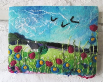 felt wall art, wet felting, summer flower meadow