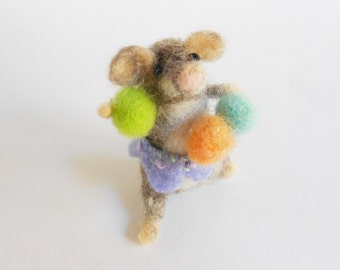Needlefelted mouse tiny animal with gumdrops handfelted wool fiber sculpture whimsical felt doll