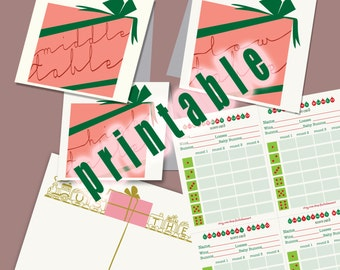 Instant Download Christmas Bunco Cards