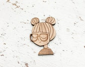 CHARACTER : Girl With Two Buns Brooch Pin