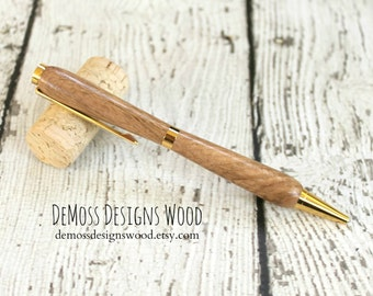 Oak Wood Pen, Wood Turned, Slim Line Style, Black Ink, Gold Finish