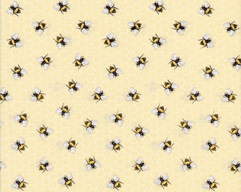 Timeless Treasures Fabric, Bees, Bees on Yellow Honeycomb, 100% Cotton