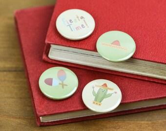 Fiesta Time Mexican Cactus Pin Badge Button pack Sombrero Maracas Party bag filler