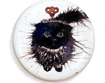 Clockwork (Exploding) Kitten Oolong Magnet: Watercolour Black Cat