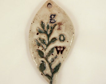 Large Glazed Pottery Pet Cremains Motif Pendant or Ornament - Custom Memorial Pet Cremation Keepsake -  GROWING VINE