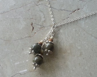 Memorial Bead Pendant or Necklace - Custom Keepsake Stoneware Pottery Pet Cremains Jewelry - COCONUT BEACH Trio Drop Pendant