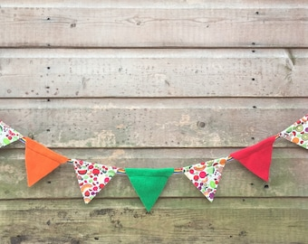 Mini bunting for small pet homes. Fruits pattern polycotton and fleece on rainbow ribbon.