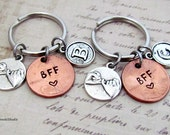 BFF Pinky Promise Keychain Set Best Friends Couple Personalized Initial Lucky Penny, Best Friends Pinky Keyring Set