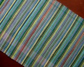 ON SALE 24' x 70' Handwoven Runner in Shades of Green, Blue, Grey, and a hint of Peach