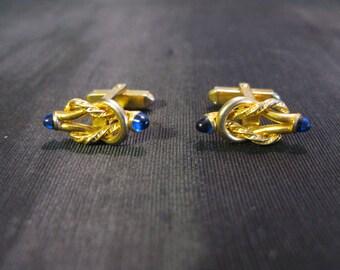 Cufflinks Gold Love Knot Jewelry, Cuff Links For Groom Wedding Blue Vintage