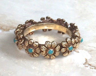 Fabulous Rare Antique 14k Yellow Gold Floral Turquoise Eternity Band Size 6.25 - 6.5 Weighing 5.2 grams