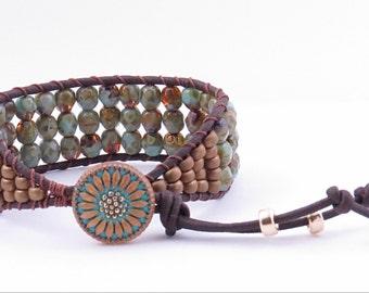 Turquoise Amber Leather Cuff Bracelet  Bohemian Style Cuff Bracelet Boho Leather Cuff Bracelet
