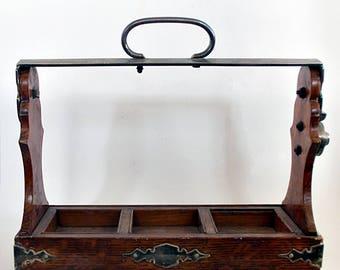 Victorian Oak Wood Tantalus Decanter Holder