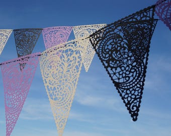 Lace Cutout Paper Bunting  Wedding Banner  Lace Cutout Banner Papel Picado Banner