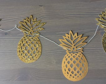 Pineapple Garland   Gold Pineapples   Luau Pineapple Banner