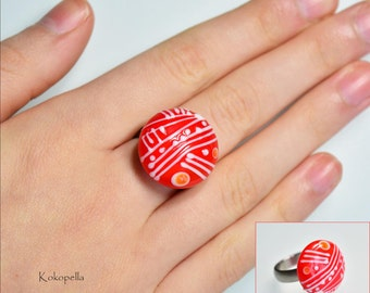 Ringtop Lampwork bead for stainless steel change ring made of Muranoglas, Nice as a gift for her, design by Kokopella